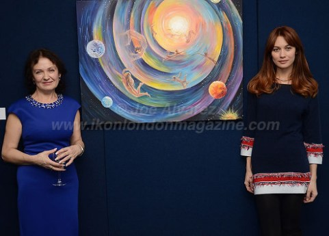 Olga Kurylenko with mother Marina Alyabusheva Exhibition © Joe Alvarez