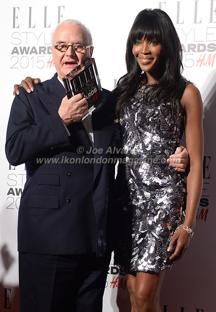 Naomi Campbell and Manolo Blahnik attend the Elle Style Awards Awards at the Walkie Talkie Tower © Joe Alvarez