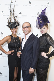 Theo Paphitis with models JJane Taylor Millinery store launch in Chelsea