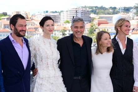 The Money Monster cast: Caitriona Balfe, George Clooney, Jodie Foster (Director), Julia Roberts Film Presscall Cannes Film Festival © Joe Alvarez