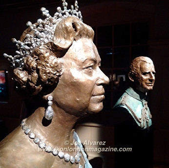 Bust of HRH Elizabeth II at Royal Sculptor Frances Segelman Heads at The Tower exhibition