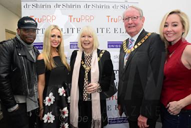 Anton Stephans, Naomi Isted, Mayor of Dartford Dr Shirin Lakhani Elite Aesthetics Clinic Launch © Joe Alvarez