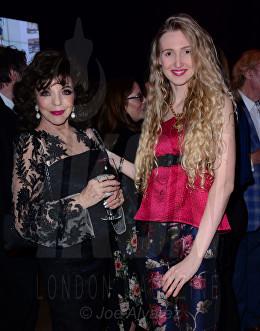 "Dame Joan Collins, Tamara Orlova-Alvarez at the Jackie Collins ""A Life In Chapters"" private view at Bonhams © Joe Alvarez"