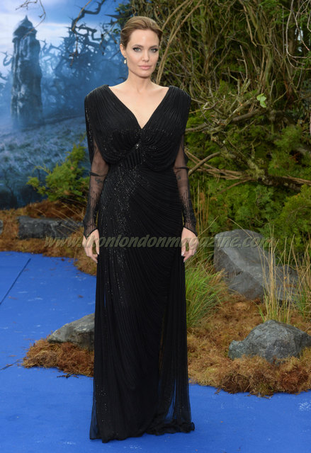 """Angelina Jolie attends the screening of """"Maleficent"""" at Kensington Palace."""