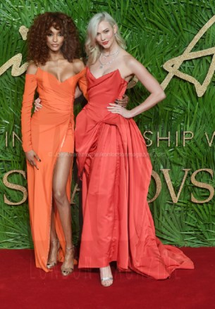Karlie Kloss and Jourdan Dunn attend the Fashion Theatre Awards at Royal Albert Hall, London.