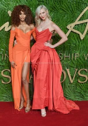 Karlie Kloss and Jourdan Dunn attend the Fashion Theatre Awards at Royal Albert Hall, London.