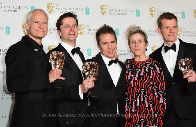 Martin McDonagh, Pete Czernin, Sam Rockwell, Frances McDormand and Graham Broadbent -Three Billboards Outside Ebbing, Missouri - wins Best Film EE BAFTAS 2018 © Joe Alvarez 14440