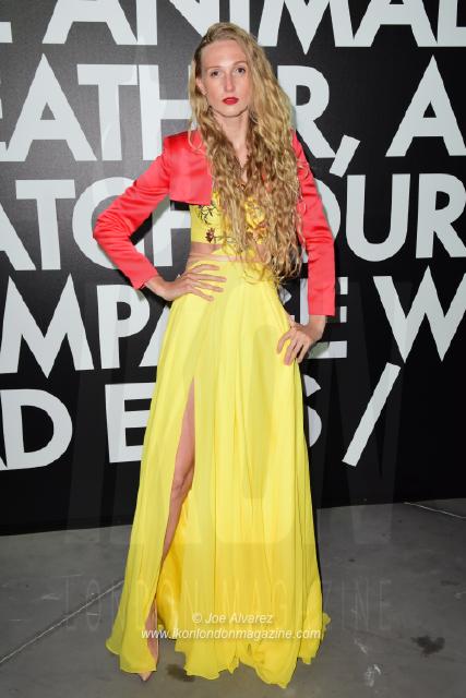 Tamara Orlova-Alvarez wearing Liina Stein dress Fashion for Relief Cannes 2018. © JOE ALVAREZ