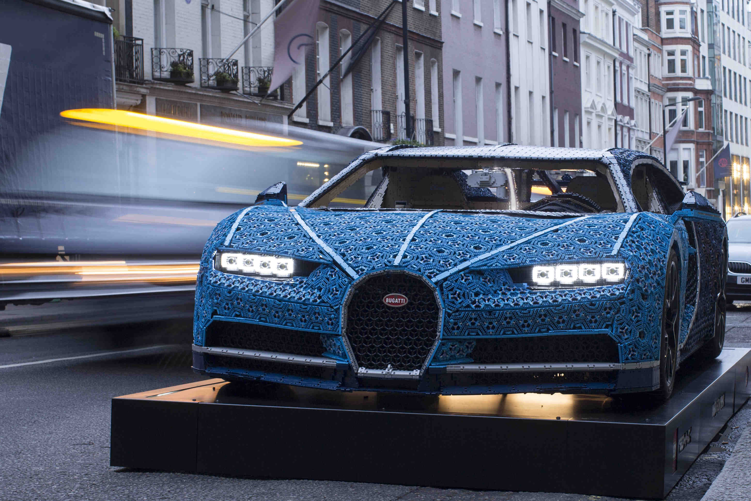 Pictured in LondonÕs Mayfair at the Bugatti showroom - the worldÕs only life-size Bugatti Chiron built entirely from LEGO Technic has arrived in London today, marking the start of its first-ever visit to the UK. The one-of-a-kind build was created by LEGO master builders entirely from LEGO Technic, and is made up of over 1,000,000 elements. It is powered exclusively using 2,304 motors from the LEGO Power Function platform.