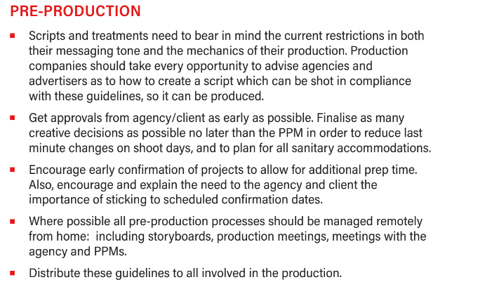 Pre-Production filming guide COVID-19