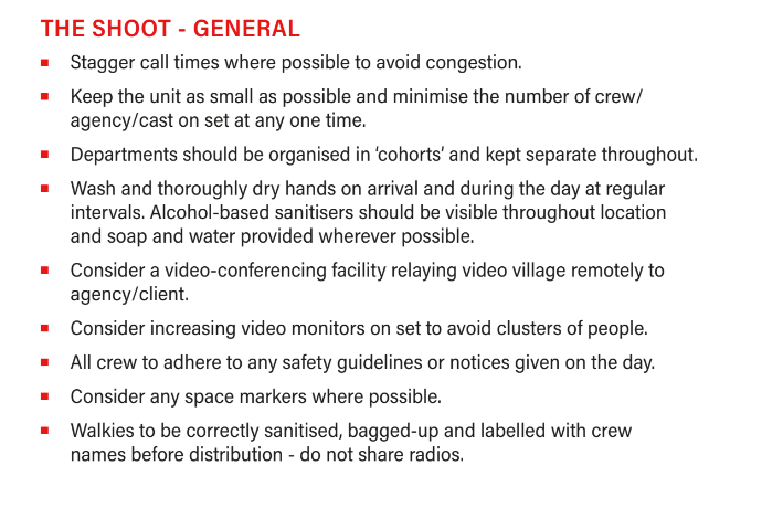 Onset film production guidelines during COVID-19