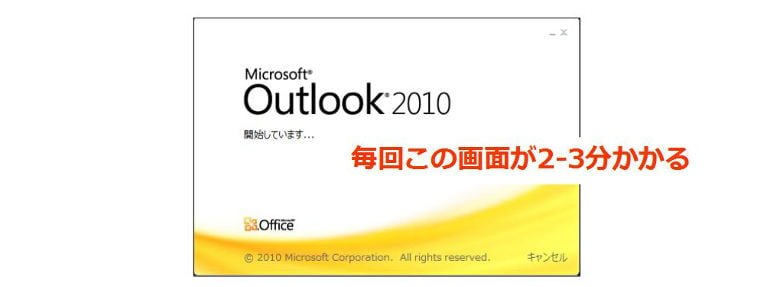 Office Outookの起動に数分かかる原因MobileMe