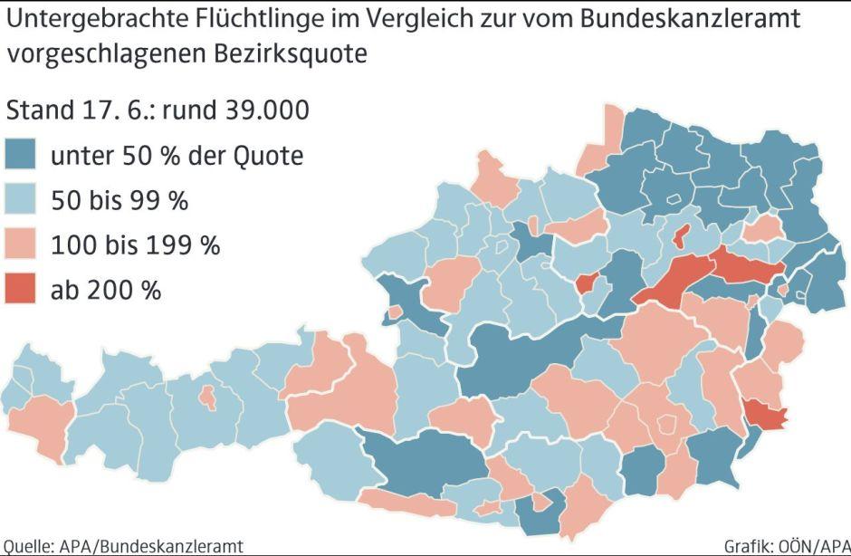 Minél pirosabb, annál több menekült tartózkodik a térségben (forrás: Oberösterreichische Nachrichten)