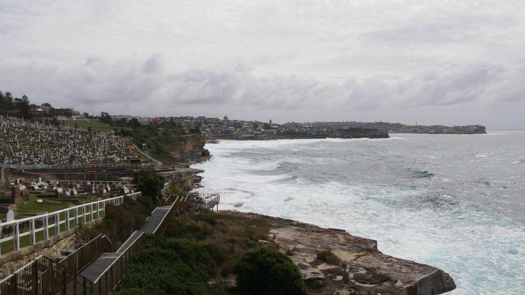 Een gedeelte van de Bondi to Coogee walk kustlijn met zee, rotsen en een aantal huizen.