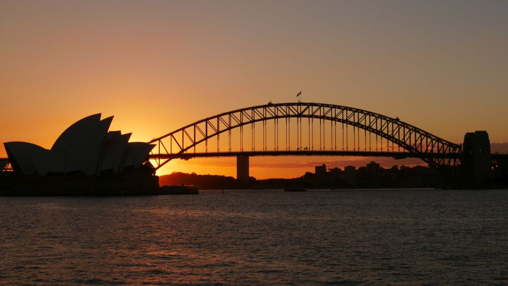 Sunset with Harbour Bridge and the Opera House without the lights on