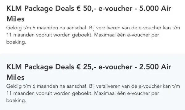 AIRMILES besteden bij KLM package deal