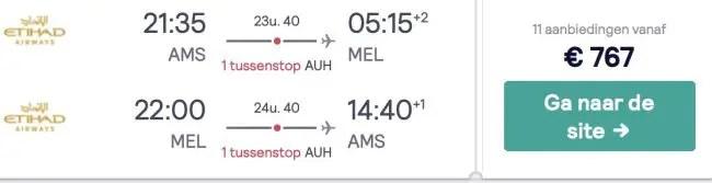 Amsterdam - Melbourne Etihad
