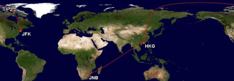 Asia Miles - Langste afstanden - Johannesburg - Hong Kong - New York