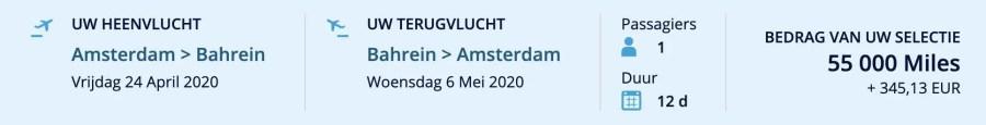 Flying Blue promo award februari 2020 Amsterdam - Bahrein