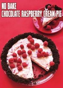 No Bake Chocolate Raspberry Cream Pie