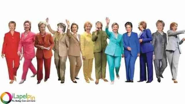 Rainbow Hillary - No Magnetic Pins iLapelpin.com professional custom lapel pins supplier
