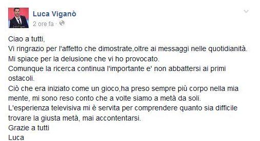 Scrive Luca Viganò nella sua bacheca facebook