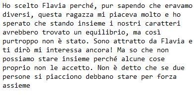 Scrive Tommaso Scala a Flavia Fiadone da Instagram