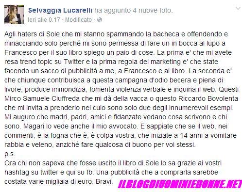 Selvaggia Lucarelli su Facebook