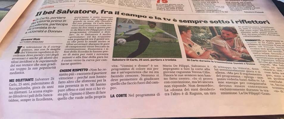 Salvatore di Carlo intervistato dalla Gazzetta dello Sport