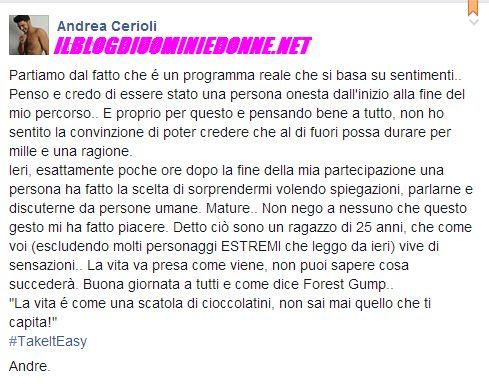 Messaggio di Andrea Cerioli