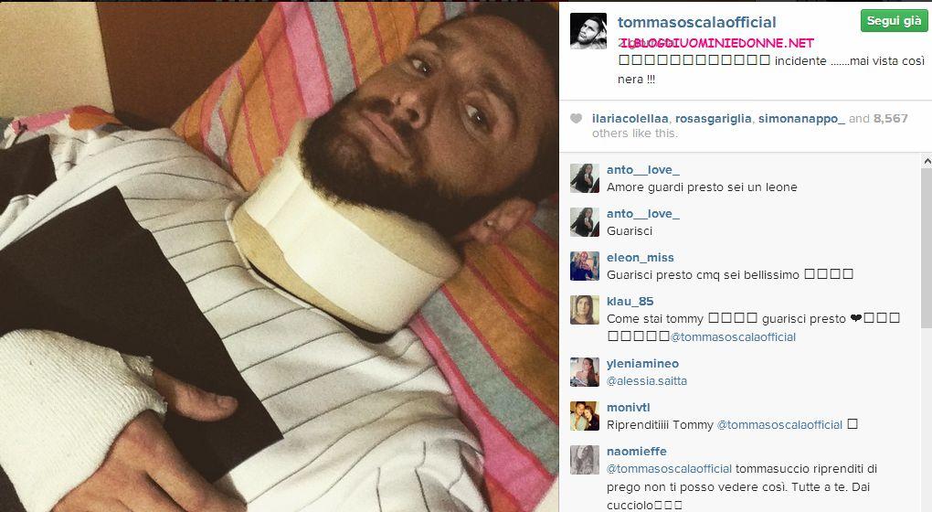 Tommaso Scala in un letto di ospedale