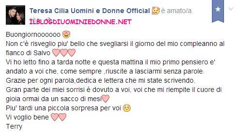 Messaggio di Teresa Cilia nella sua bacheca facebook