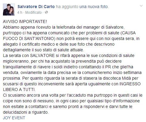 Salvatore di Carlo Malato scrive