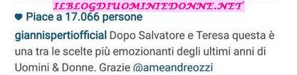 Gianni Sperti felice per la scelta di Amedeo e Alessia Messina