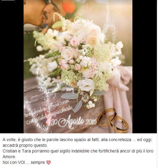 Cristian Galella e Tara Gabrieletto si sono sposati in comune