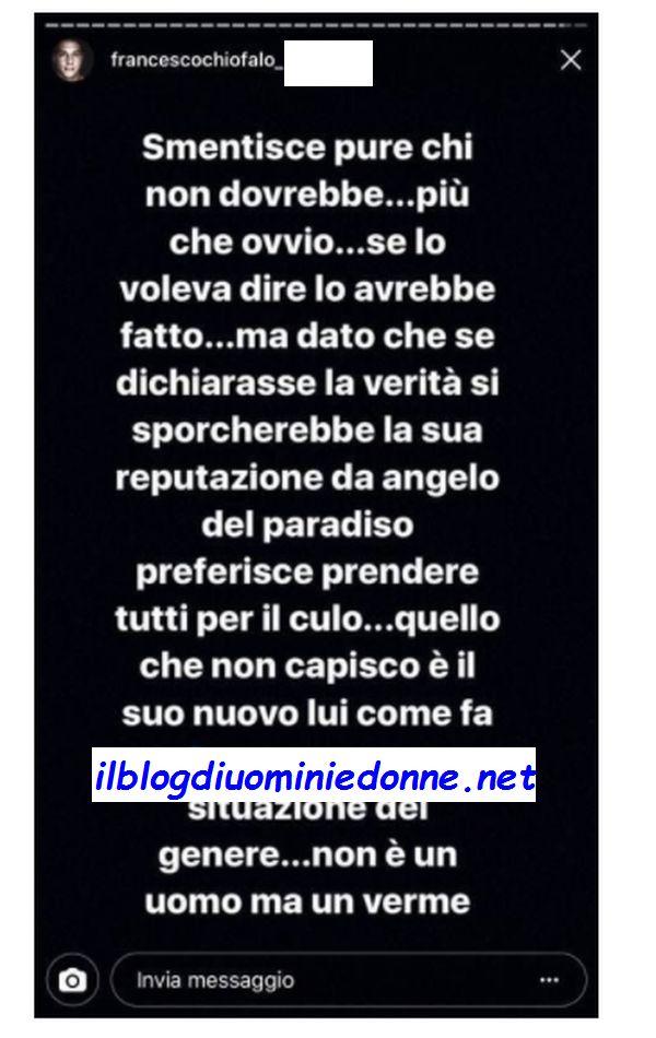 Francesco Chiofalo scrive su una ex di Temptation Island incinta