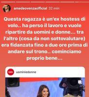 Amedeo Venza sostiene che Sara Amira  era fidanzata fino a due ore prima di diventare tronsita