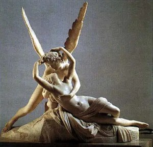 """Gruppo scultoreo in marmo bianco """"Eros e Psiche"""" di Antonio Canova"""