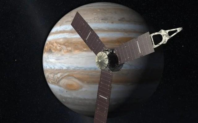 Rappresentazione artistica della sonda Juno in prossimità di Giove