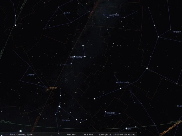 Nell'immagine si vede il cielo notturno in direzione Nord-Est