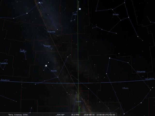 Il cielo verso lo Zenit guardando in direzione Sud