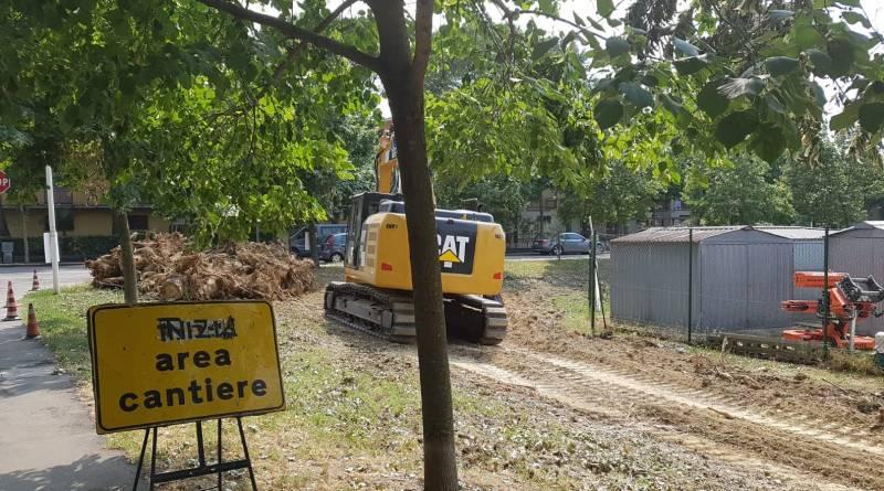 Abbattimento alberi (un momento dei lavori vicino al campo portivo della Virtus in piazza Bologna)