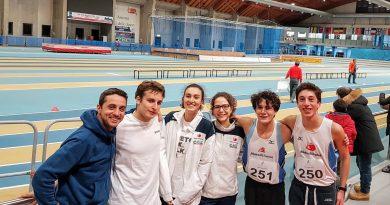 Gli atleti impegnati ad Ancona nelle gare indoor 12 01 2020