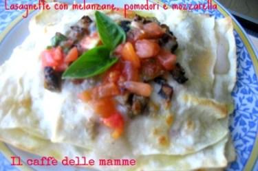 Lsagnette con melanzane, pomodori e mozzarella
