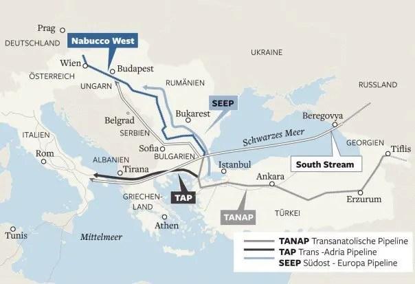 I percorsi di Nabucco, TAP, e altri progetti nella medesima area geografica