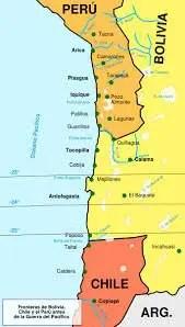 Gli antichi confini tra Perù, Cile e Bolivia: come si vede, quest'ultima godeva di accesso al mare