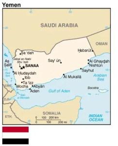 La posizione geografica dello Yemen.