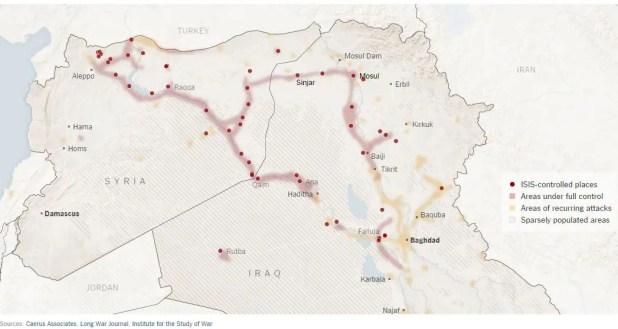 Aree sotto il controllo di ISIS - Fonte: New York Times