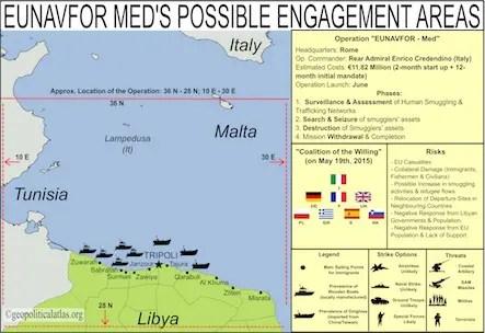 L'operazione navale UE EUNAVFOR MED e la zona di costa vicino a Tripoli - mappa di geopoliticalatlas.org