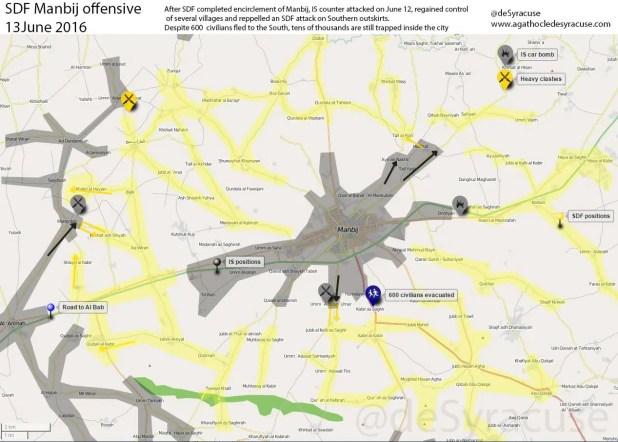 Mappa della zona di Manbij, 13 giugno 2016 - fonte @deSyracuse